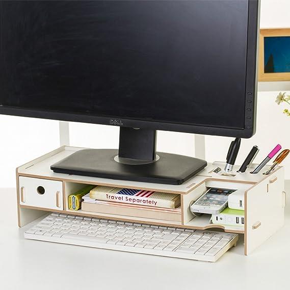 Soporte de madera Dreamacces para TV o pantalla de ordenador: cajón extra, bolsillo para teléfono móvil, estante para libro, recipiente para bolígrafos, organizador de artículos cotidianos multicolor diseño 3 Mediano: Amazon.es: Informática