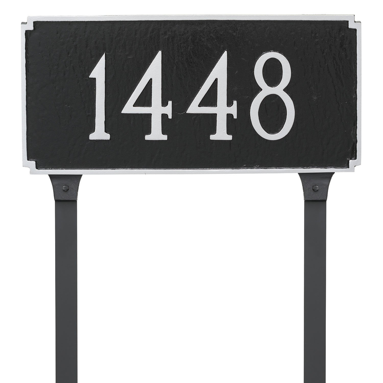 Montague Metal 7.25'' x 15.75'' Madison One Line Address Sign Plaque with Lawn Stakes, Standard, Black/Silver