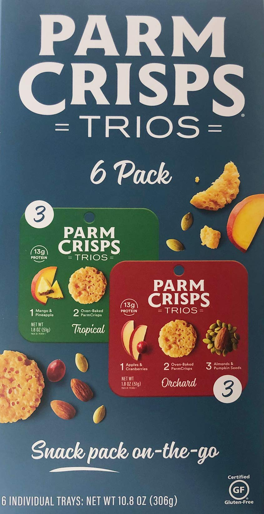 Parm Crisps Trios New On-the-go Snack Pack 10.8oz,1 Box (6 Individual Trays 10.8oz)