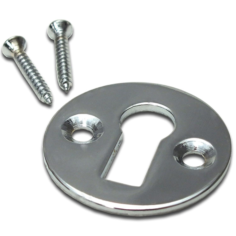 35mm Chrome Key Rose Escutcheon Plain Front Door Keyhole with Fixings White Hinge