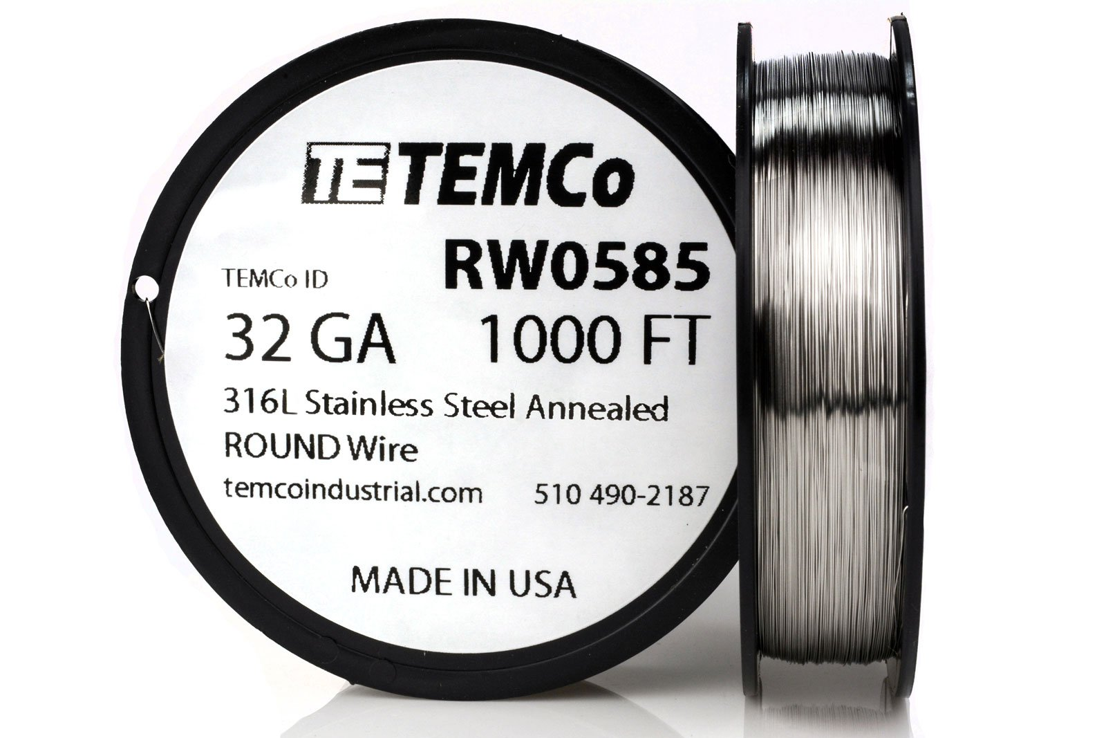 TEMCo Stainless Steel Wire SS 316L - 32 Gauge 1000 FT Non-Resistance AWG ga