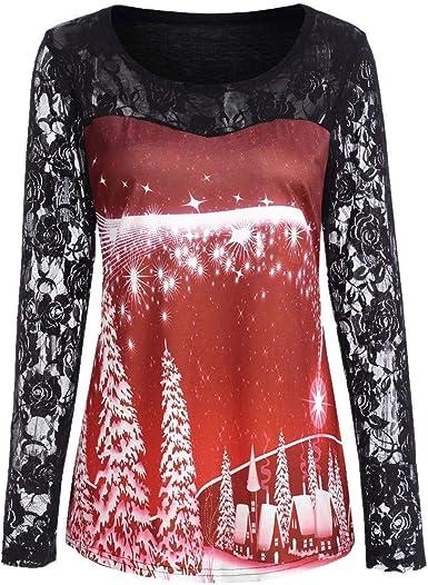 Blusa De Navidad Señoras Panel De Encaje De Tops Vintage ...