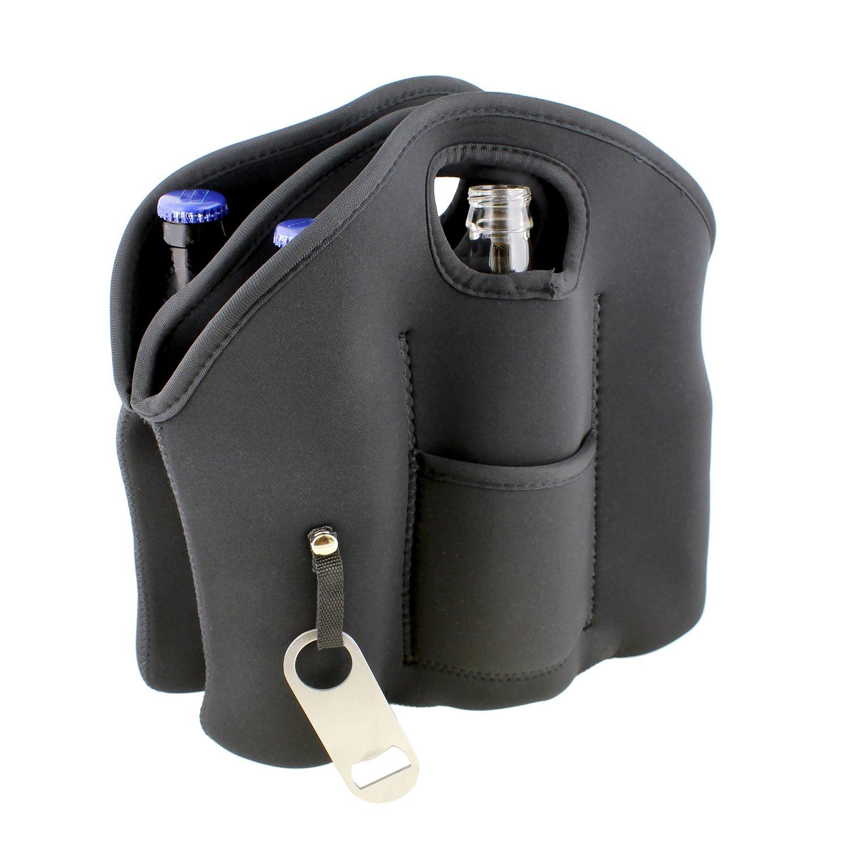 Beer Bottle Cooler Bag G Francis 6 Pack Cooler Tote Beer Holder with Beer Bottle Opener Keychain Neoprene Water Bottle Carrier