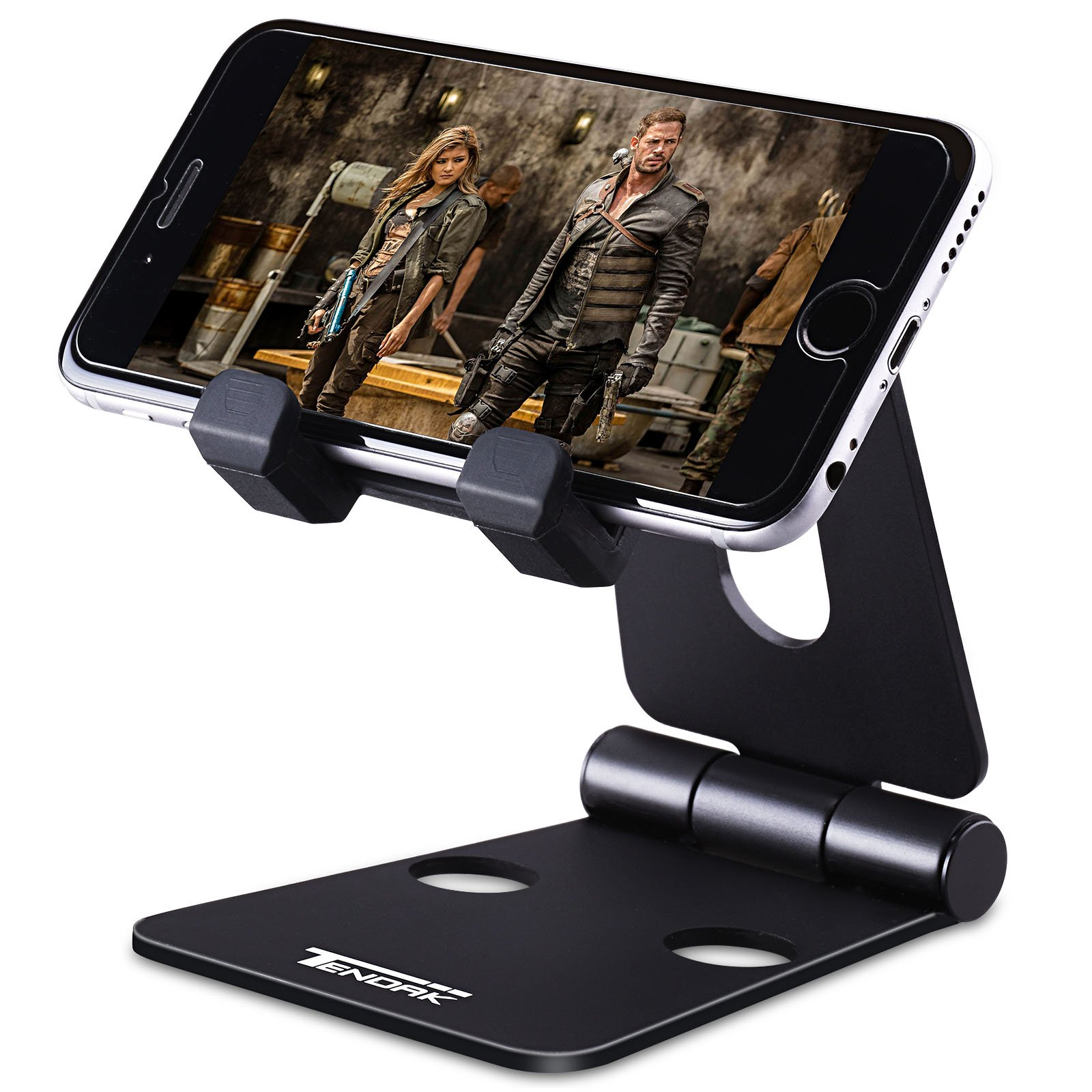 Cell Phone Stand, Tendak Nintendo Switch Stand, Foldable Multi-angle Tablet Video Game Holder Dock for iPhone X 8 7 6 Plus 6s iPad Mini and all Android Smartphones - Black