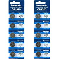 PANASONIC Batteries CR1620 Battery, Lithium, 3V, Coin Cell (10 Pieces)
