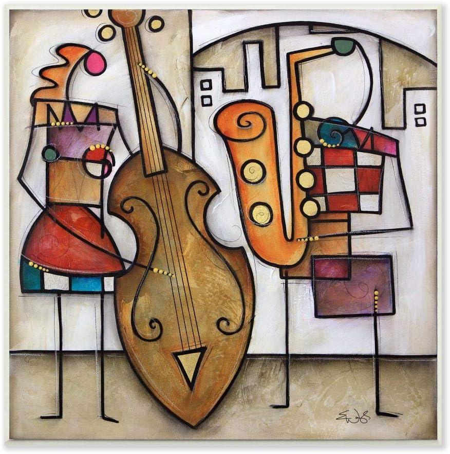 Stupell Industries Musical Duet Abstract Modern Painting, Design by Artist Eric Waugh Art, 12 x 0.5 x 12, Wall Plaque