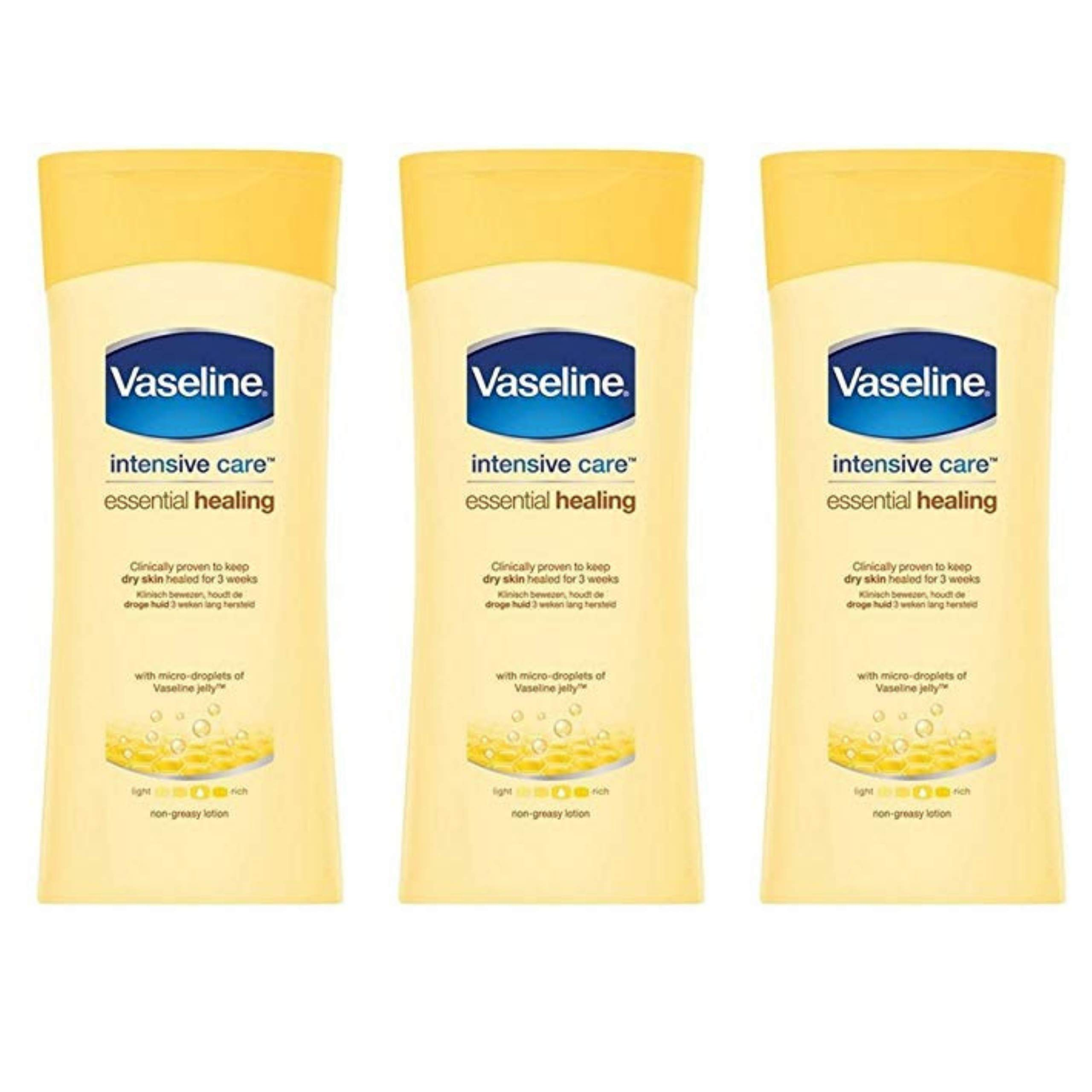 Vaseline Intensive Care Body Lotion, Essential Healing Dry Skin Repair, Pack of 3, (13.53 Oz / 400ml Each) by Videncia