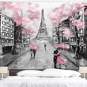 Riyidecor Eiffel Tower Pink Tress Tapestry 51x59 Inch Oil Painting Paris Modern Love Couple European City Landscape France City Black Gray Art Wall Hanging Bedroom Living Room Dorm Decor Fabric