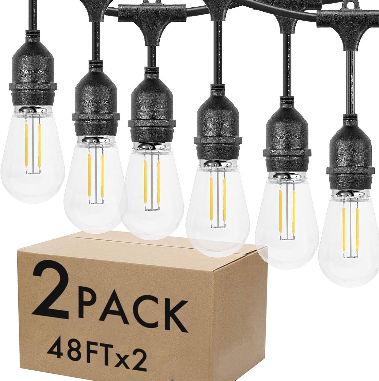 Lightdot LED 2 Pack Outdoor 48FT String Lights, Waterproof Patio Lights with 15 Hanging E26 sockets, Warm White, UL Polar Plug, Hanging in Cafe Bistro Gazebo Garden Backyard Light(32 Bulbs Include)
