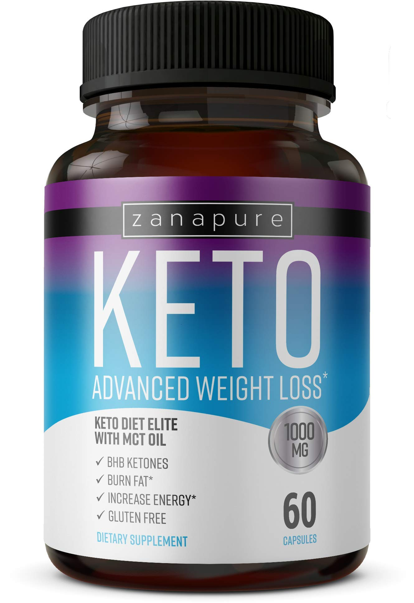 Keto Diet Elite - 1000mg Keto Advanced Weight Loss- Ketogenic Fat Burner- Burn Fat Instead of Carbs - Ketosis Supplement - Potassium and BHB Salts - 30 Day Supply by Zanapure