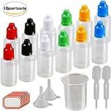 Contagocce bottiglie, Kakoo 12pz 30ml plastica Squeezable liquido con tappo a prova, punta sottile, imbuto, misurino, pipette per e-liquidi DIY Craft