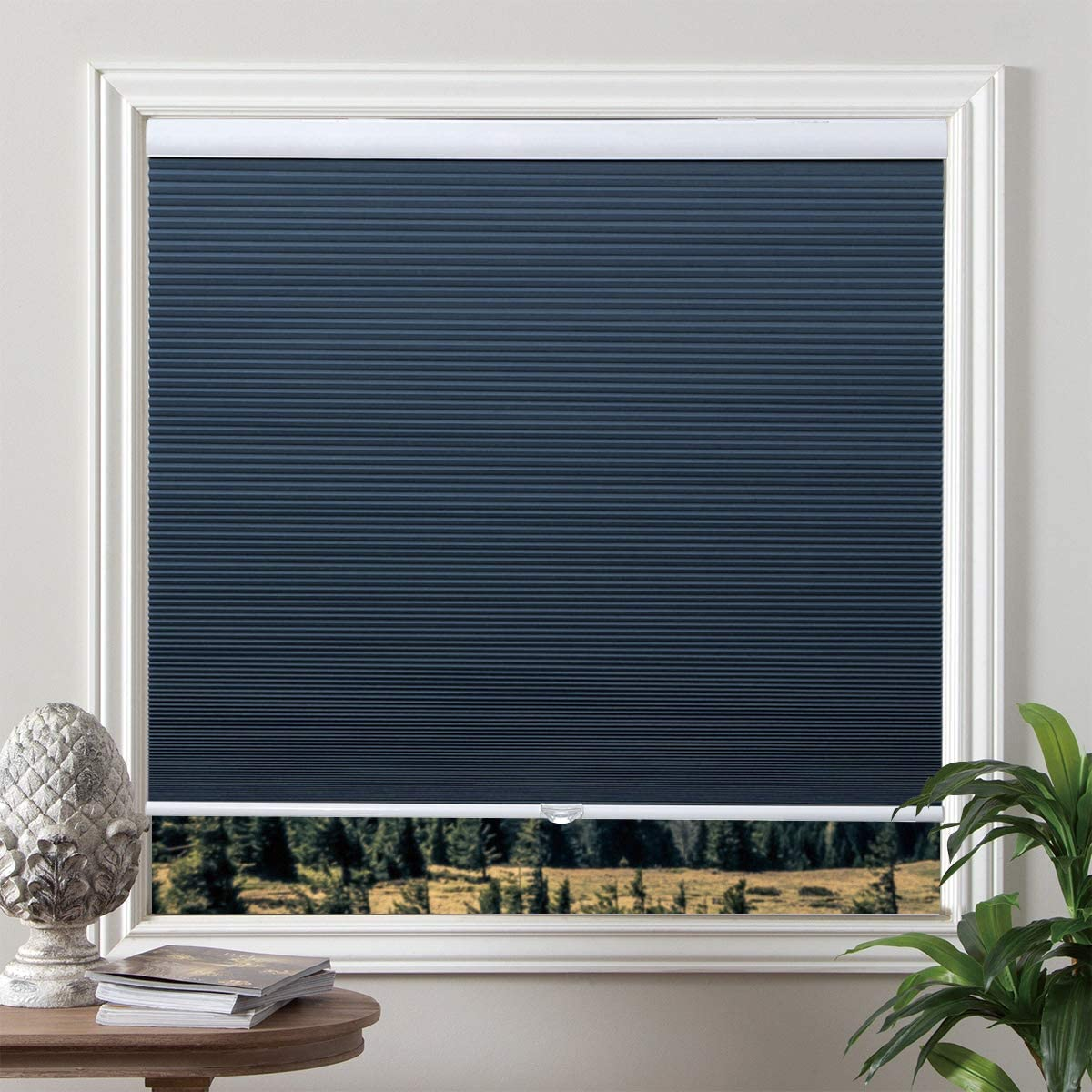 "Grandekor Cellular Shades Blackout Cordless Cellular Blinds Honeycomb Blinds Window Shades Room Darkening Shade Ocean Blue-White, 27""(W) x 64""(H)"