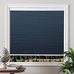 "Grandekor Cellular Shades Blackout Cordless Cellular Blinds Honeycomb Blinds Window Shades Room Darkening Shade Ocean Blue-White, 27""(W) x 64""(H)"