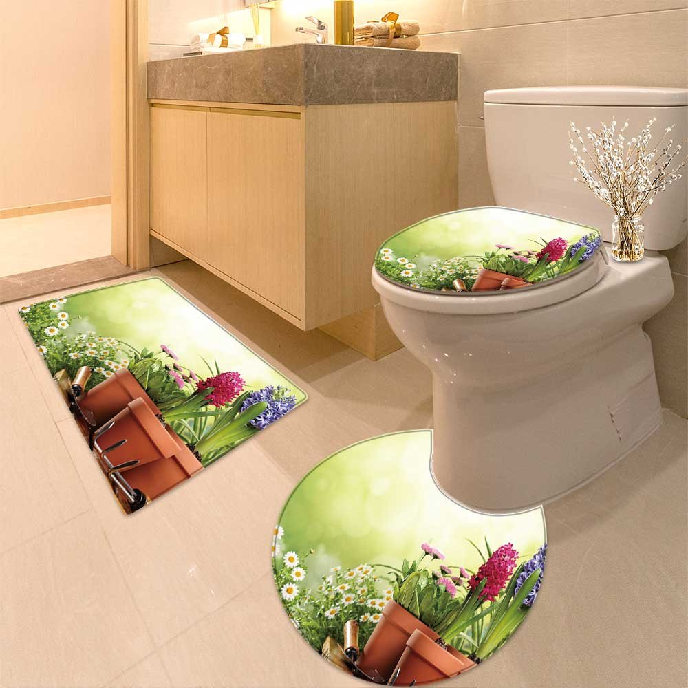 3 Piece large Contour Mat set Outdoor gardening tools and s Bathroom Rugs Contour Mat Lid Toilet Cover