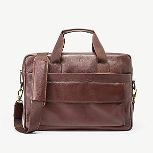 Daniel's 15.5 Inch Premium Italian Leather Briefcase Messenger Bag - Padded Laptop Compartment - Removable/Adjustable Shoulder Strap - Model No. 1 (Brown with Standard Lining) Briefcase Bag for Men