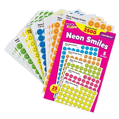Trend Enterprises Inc SuperSpots and SuperShapes Sticker Variety Packs, Neon Smiles, 2,500/Pack T1942: Automotive