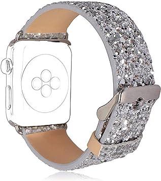 HICYCT Correa Apple Watch 42mm 38mm Pulsera iWatch de Reemplazo Ajustable, de Piel sintética, Brillante, con Purpurina,para iWatch Series 1, Series 2, Series 3 Sport Edition.: Amazon.es: Deportes y aire libre