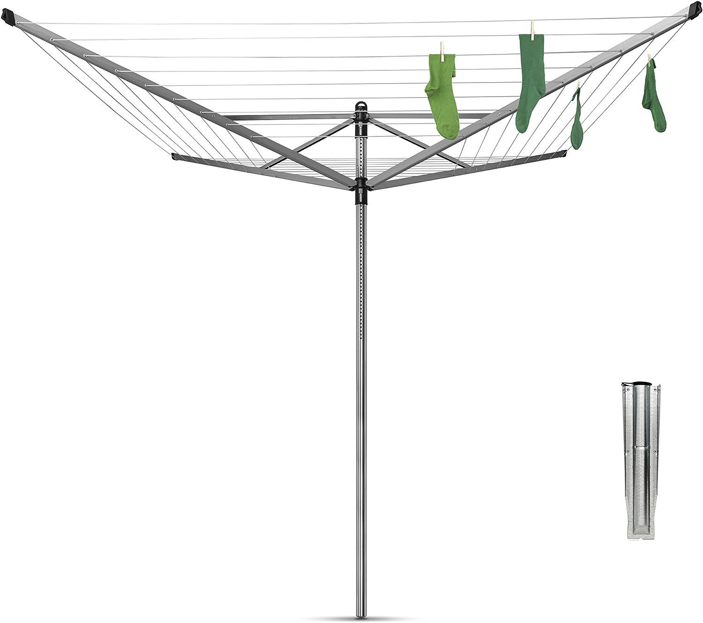 Gris Metalizado 60 m de Cuerda Brabantia Lift-O-Matic Tendedero de Jard/ín con Soporte y Funda Acero Inoxidable