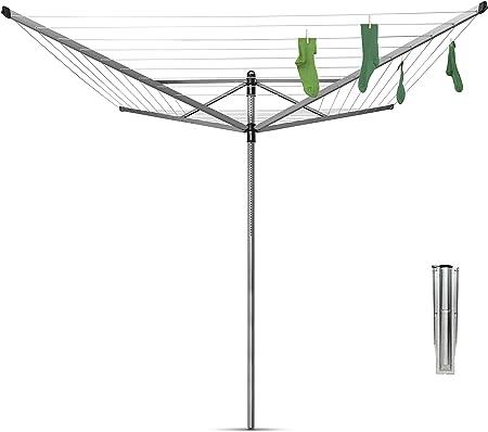 Brabantia Lift-O-Matic Tendedero de Jardín con Soporte, Acero Inoxidable, Gris Metalizado, 50 m de Cuerda: Amazon.es: Hogar