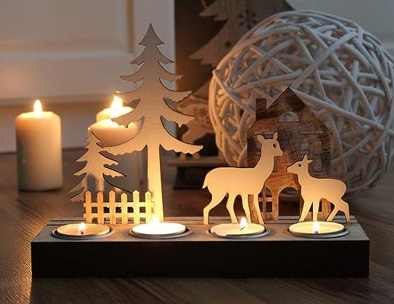 Markenlos Kerzentablett Hirsch Kerzenst/änder Winter Weiss Weihnachtsdeko Teelichthalter Dekofigur Holz Modern Design