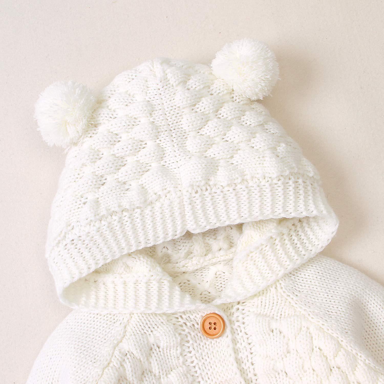 PERILA Maglione con Cappuccio per Bambina Neonato Cappotto con Bottoni Bambino Maglione Invernale Giacca Autunno per Bambini 3-24 Mesi
