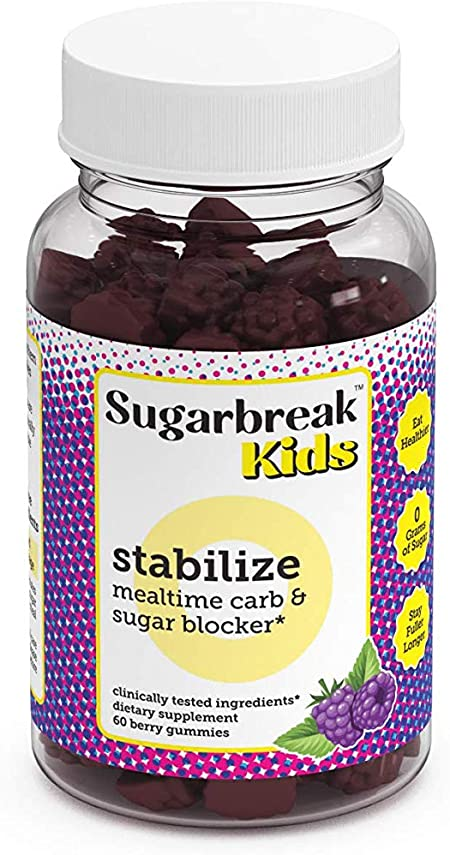 Sugarbreak Kids Stabilize Gummies | Blocks Excess Carbs and Sugars | Minimizes Post-Meal Sugar Spikes & Crashes and Keeps Fuller Longer | Safe, Natural and Formulated for Kids (60 Gummies)