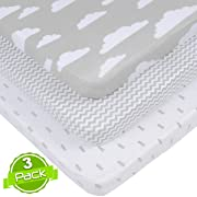 BaeBae Goods Jersey Cotton Fitted Pack n Play Playard Portable Crib Sheets Set | Grey and White Clouds | 150 GSM | 100% Cotton | 3 Pack