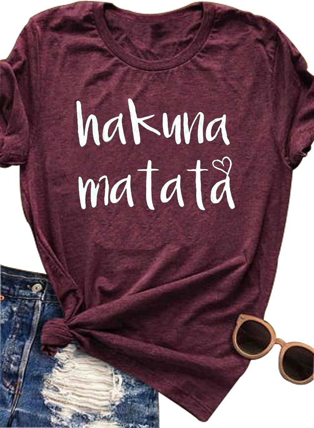 VILOVE Women's Hakuna Matata Letter Print Funny T Shirt Short Sleeve Tee Top Casual
