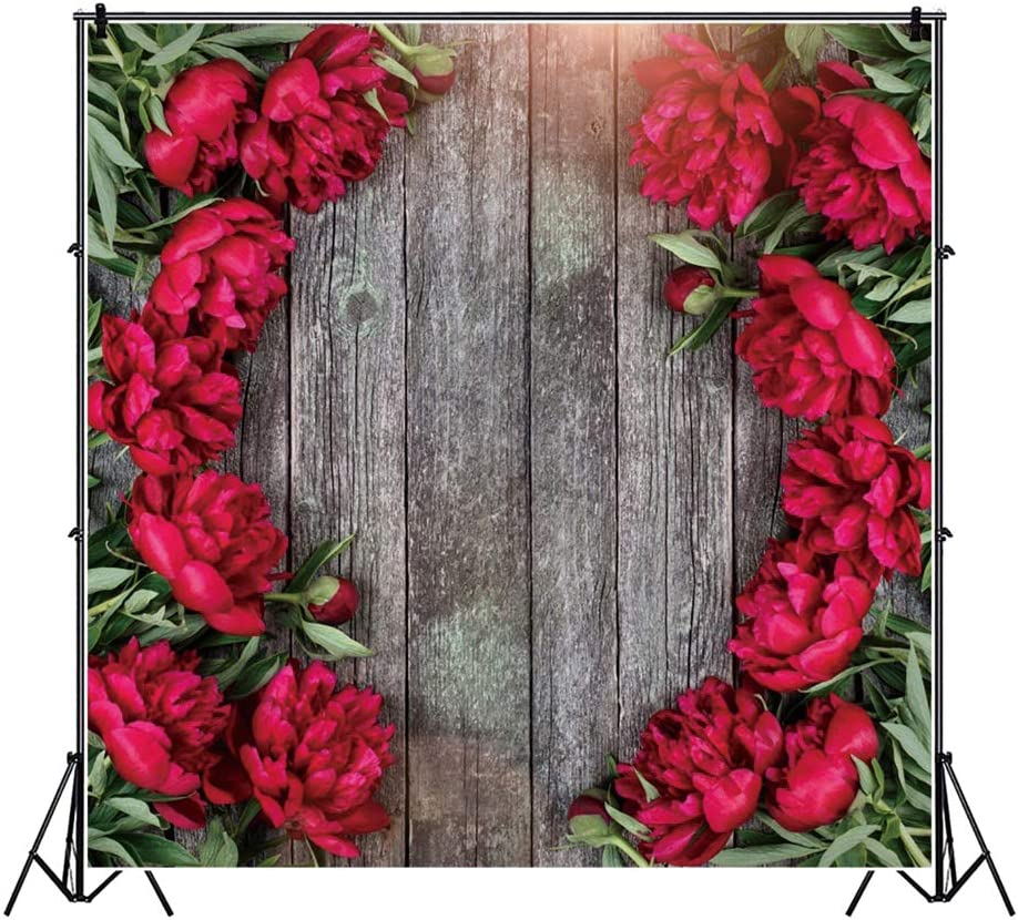 Yeele Spring Peonies Flowers Wood Floor Backdrop Wedding Mothers Day Decoration Photography Background Kids Lady Gentlemen Artistic Portrait 10x10ft Events Decoration Photoshoot Photo Booth Props