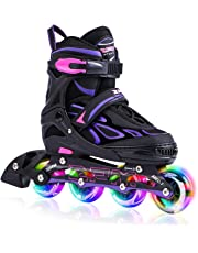 2pm Sports Vinal Girls Adjustable Flashing Inline Skates All Wheels Light Up Fun Illuminating Rollerblades for Kids and Ladies - Violet M
