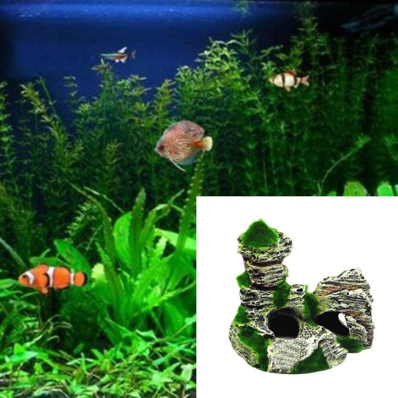 FALAIDUO Fish Tank Aquarium Ornaments Hiding Coral Rockery Hiding Cave Decoration 11cm*9.5cm*5.5cm, B