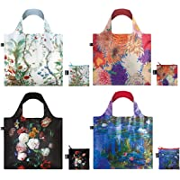 LOQI Museum Collection Pouch Reusable Bags, Set of 4, Floral Decadence