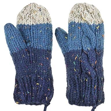 a649eabe1a FakeFace Fäustlinge Damen Erwachsene Handschuhe Doppelschicht Winter  verdicken Warm gefüttert Strichandschuhe Fäustling Winterhandschuhe