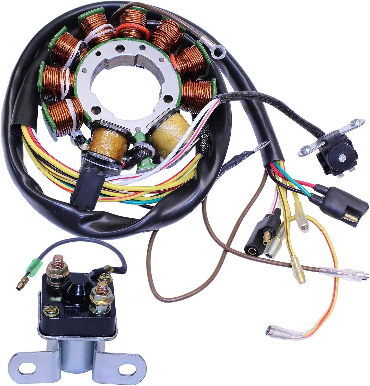 GLENPARTS Stator Starter Solenoid Relay for Polaris Scrambler 500 1997 1998 1999 2000 ATVs Generator
