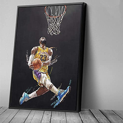 Lebron Dunk Basketball Player Canvas Art Design Painting Picture Canvas Wall Art Home Decor 18in x 24in Modern Black Framed