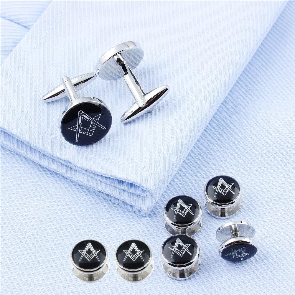 Men Wedding Accessories HAWSON Freemason Cufflinks and Tuxedo Shirt Studs Set