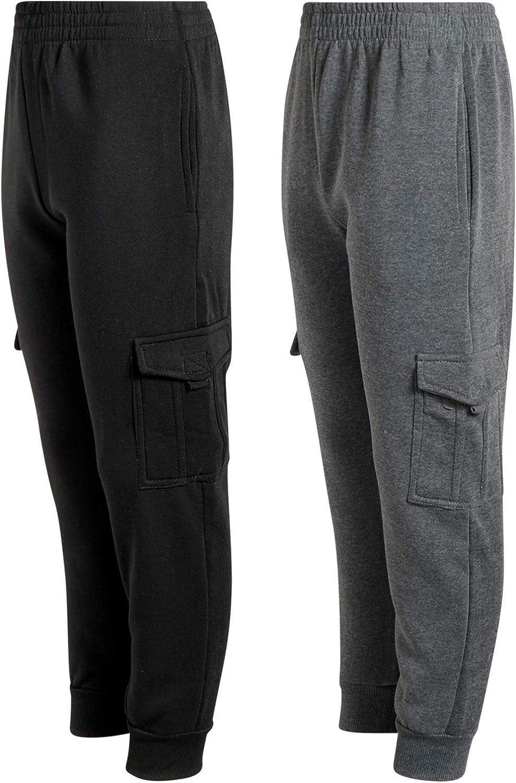 Quad Seven Boys Fleece Cargo Jogger Sweatpants 2 Pack