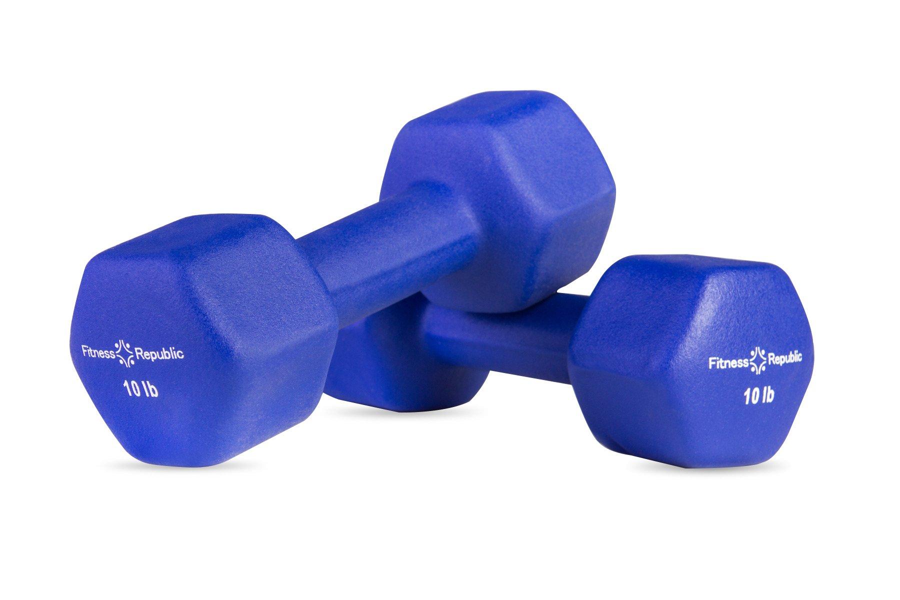 Fitness Republic Neoprene Dumbbells 10 lbs Set (Neoprene Weights)