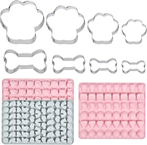 Akamino 5 Pieces Dog Cookie Cutter Set with 3 Pieces Dog treat Molds Mini Sized Silicone Molds - Stainless Steel Dog Bone and Dog Paw Print Biscuit Cookie Mold for Homemade Treats