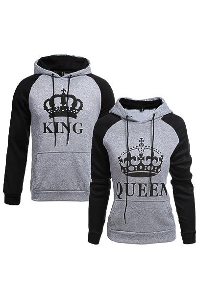 El Rey Reina Pullover Hoodie Sudadera Mujer Par: Amazon.es: Ropa y accesorios