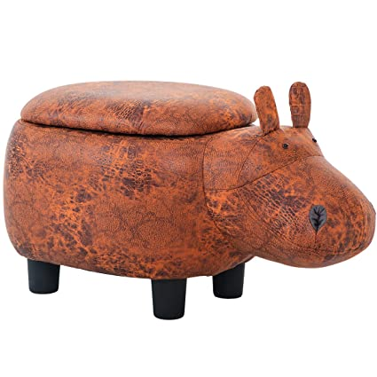 Stupendous Merax Funfair Series Upholstered Ride On Storage Ottoman Footrest Stool With Vivid Adorable Animal Shape Brown Hippo Inzonedesignstudio Interior Chair Design Inzonedesignstudiocom
