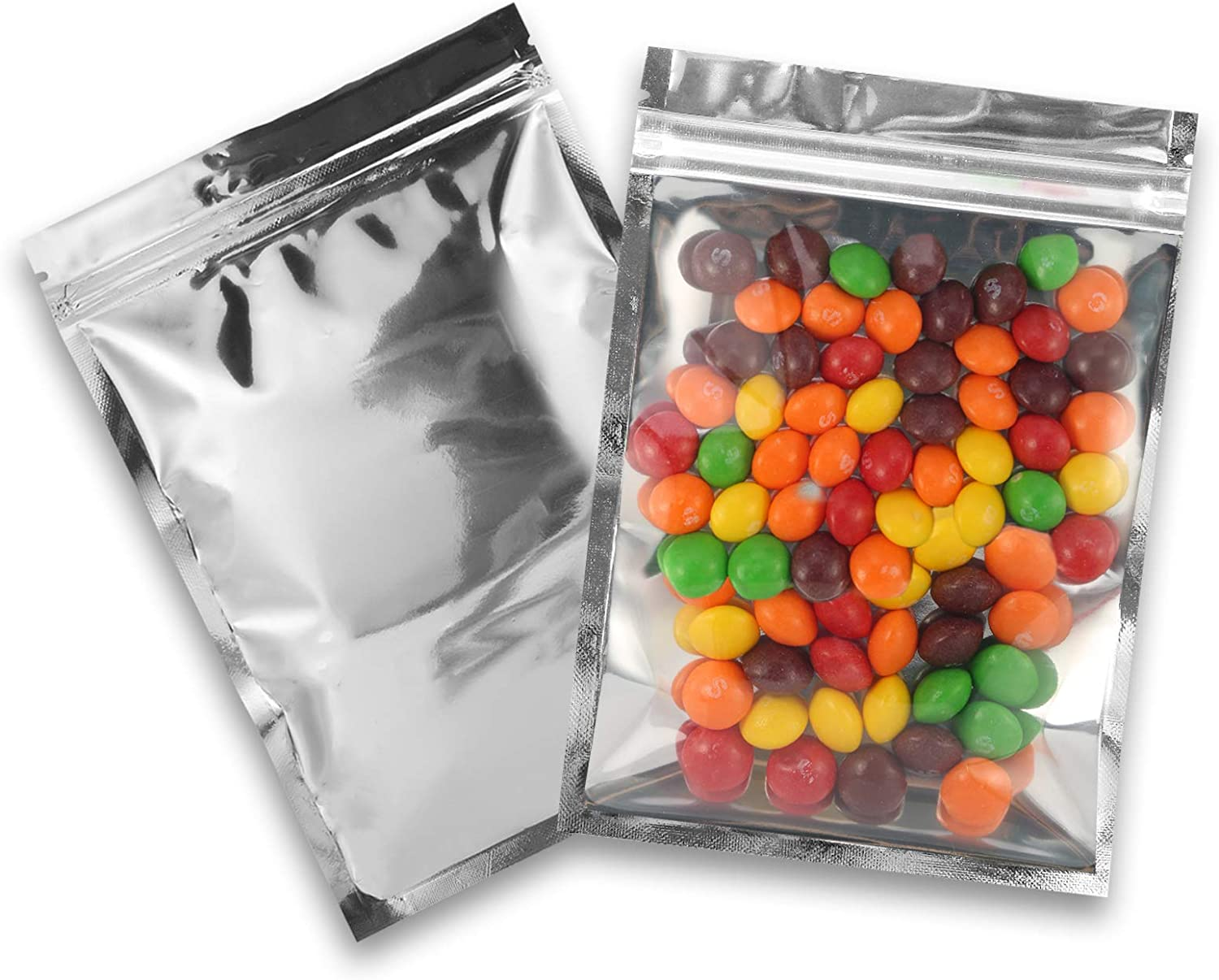 Resealable Mylar Bags | 100 Pcs 4 X 6 Inch | Smell Proof Ziplock Bag Heat Seal Cute Packaging Foil Food Bags Sealable Small Front Clear Plastic Silver for Storage Candy Beef Jerky Jewerly Product