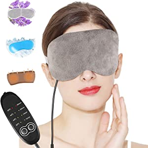 Lavender Eye Mask for Sleeping Heated Eye Mask Warm Steam Dry Eye Mask Electric Adjustable Temperature Heating Hot Eye Mask for Relieving Blepharitis Dry Eyes, Puffy and Tired Eyes