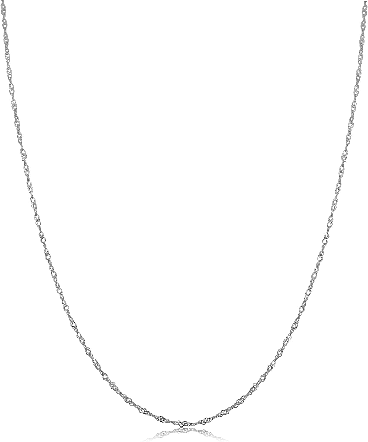Kooljewelry 10k White Gold Singapore Chain Necklace (0.7 mm, 1 mm, 1.4 mm, 1.7 mm)