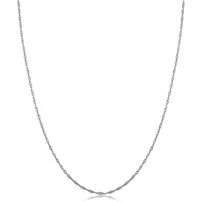 700082dc6d033 14k White Gold Singapore Chain Necklace (0.7mm, 1mm, 1.4mm, 1.7mm)
