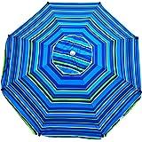 Shadezilla 7 ft Platinum Heavy Duty Beach Umbrella with Reinforced Fiberglass Ribs, Carry Bag, Accessory Hanging Hook, UPF100