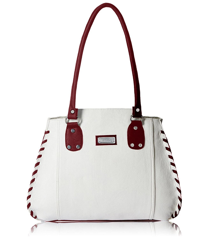 Fantosy Women's Handbag (White & Maroon) (FNB-217-1)