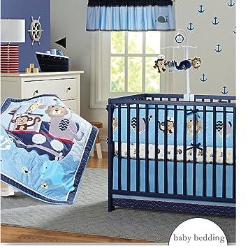 Nursery Bedding Sets Boy.Brandream Nautical Crib Bedding Sets With Bumper Blue Baby Boy Bedding Sets Ocean Whale Monkey Giraffe Elephant Printed 8 Pieces
