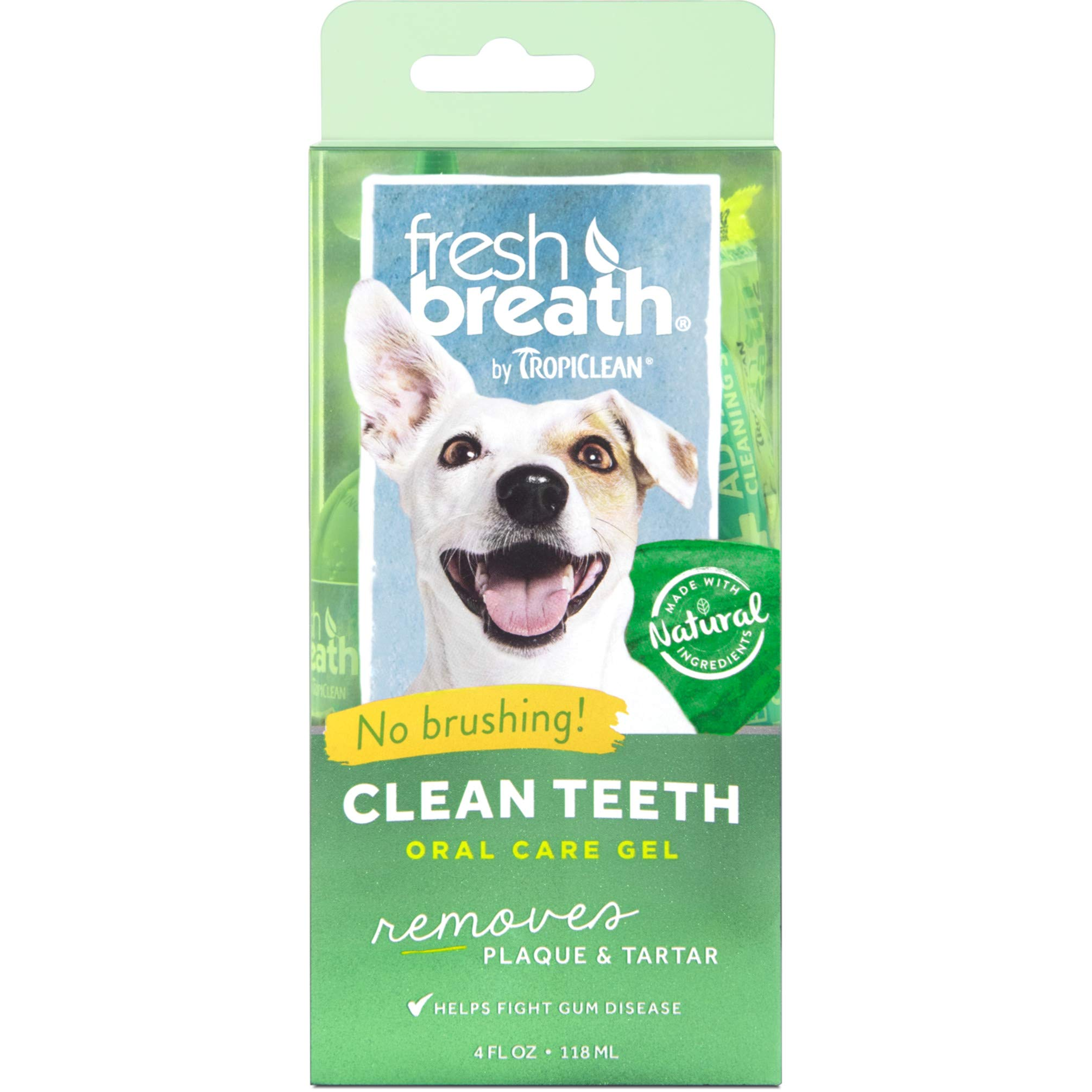 Fresh Breath by TropiClean No Brushing Clean Teeth Dental & Oral Care Gel for Dogs, 4oz, Made in USA by TropiClean