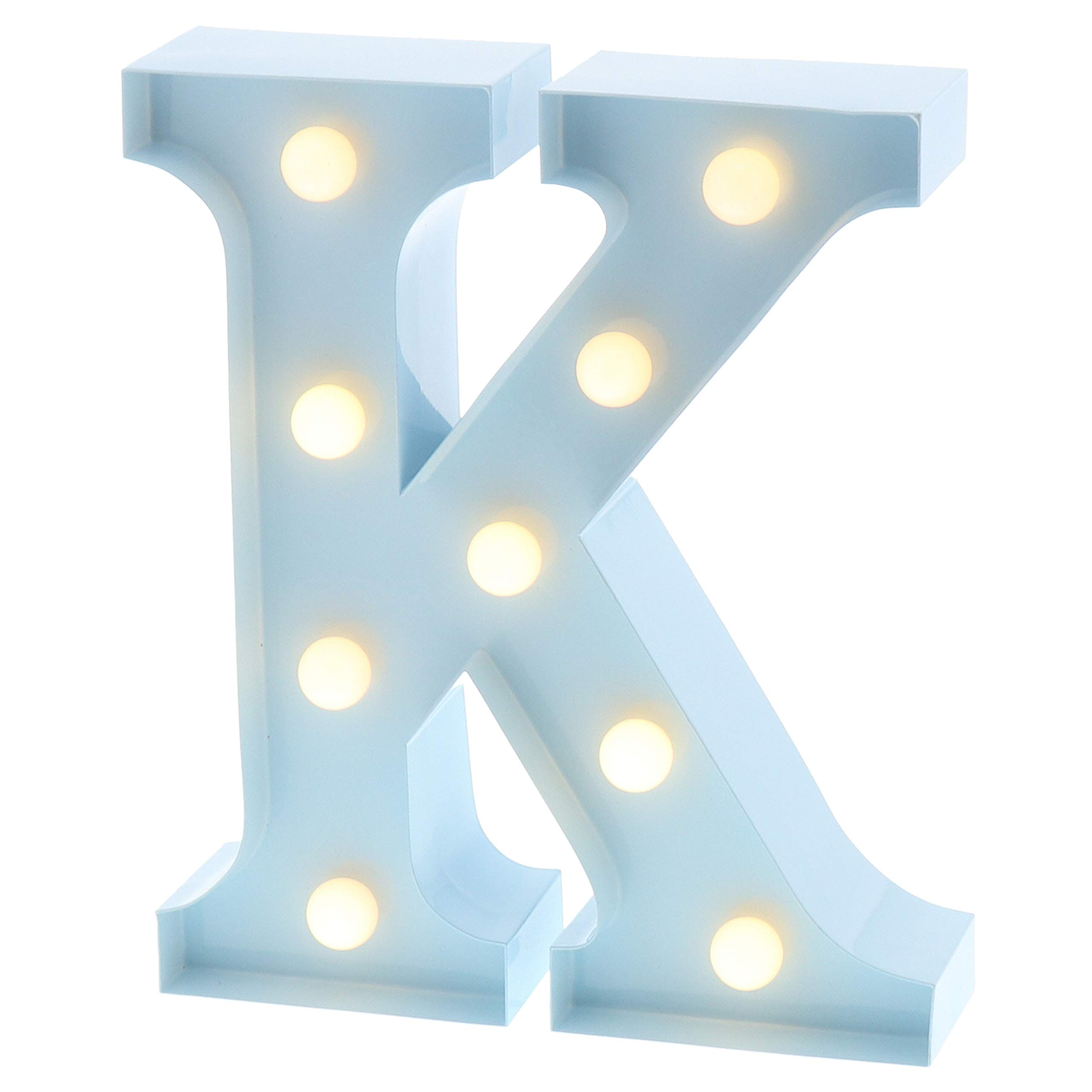 "Barnyard Designs Metal Marquee Letter K Light up Wall Initial Nursery Letter, Home and Event Decoration 9"" (Baby Blue)"